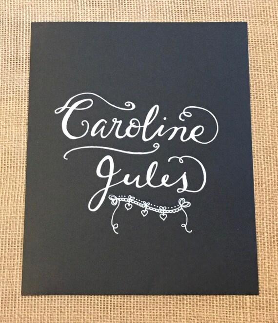 Custom Calligraphy Chalkboard Paper Art Print - Names / Custom Sayings / Gifts for Housewarmings, Birthdays, Weddings, New Baby