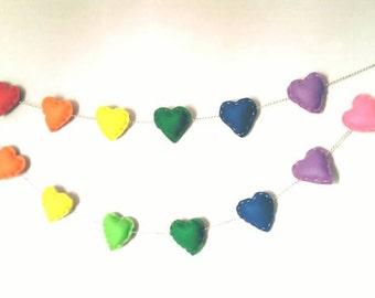 IFeltLoveCo Rainbow Felt Heart Garland