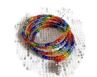 Bracelet 5 rows Rainbow seed beads, charm
