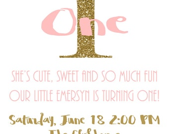 Pink and gold birthday invitation, first birthday invitation, printable birthday invitation, pink and gold, birthday invitation
