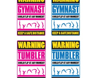 A4 Gymnastics & Tumbling Wall Art Prints 'Warning Tumbler' 'Warning Gymnast'