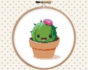 Kawaii cactus cross stitch pattern - cute cross stitch - funny cross stitch PDF - instant download - digital download - succulent