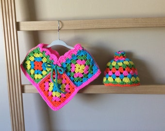Granny Square Poncho and Hat set