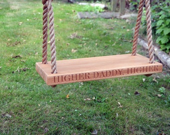 Oak Garden Swing, Personalised with Carving, Childrens Garden Swing