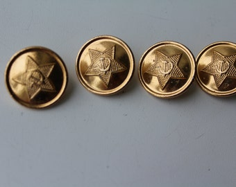 Set of 4 vintage soviet military buttons for Ministry Defense of the USSR, Vintage Soviet Army buttons, Soviet buttons, USSR buttons