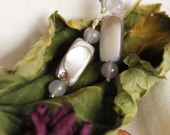 Opalescent and Purple Stone Bead Handmade Earrings