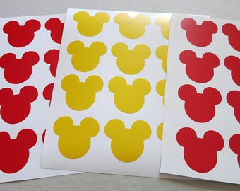 Mickey Mouse Vinyl Decals.Disney Party stickers.