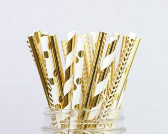 Gold Foil Paper Straw Mix - Bridal Shower Decorations, New Years Eve, Gold Foil Straws, Metallic, Wedding Party Decor, GOLD Party Supplies