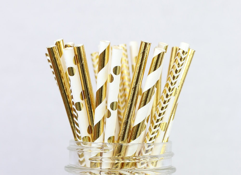 Gold foil paper straw mix bridal shower decorations new