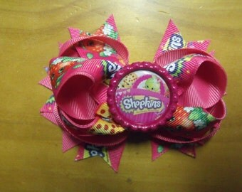 "Shopkins Handmade Boutique Layered Hair Bow 4.5"" Hot Pink Rainbow Color - Girls - Alligator Hair Clip"