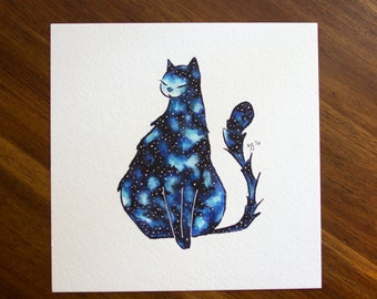 "Galaxy Cat Illustration - 6x6"" - Original Artwork"