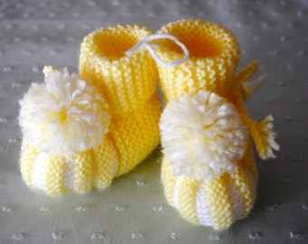 Hand Knitted Yellow and White Booties