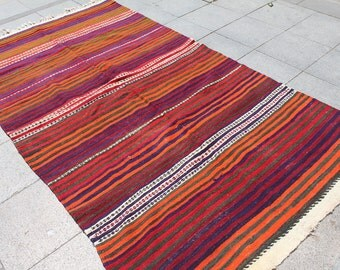 Vintage turkish kilim rug, kilim, home decor, decorative kilim rug, handwoven kilim rug  9x4 ft