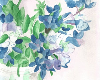 Blue and Violet Flowers, Watercolor, Printed Copy