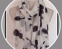 Violins Design - Black/White Scarf/Wrap - Fashion Accessory - Music Lovers Gift Idea