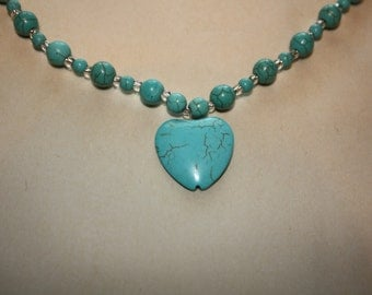 Turquoise colored necklace