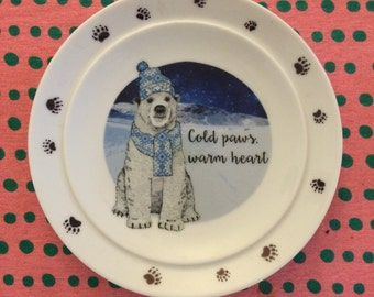 Cold Paws warm heart decorative plate