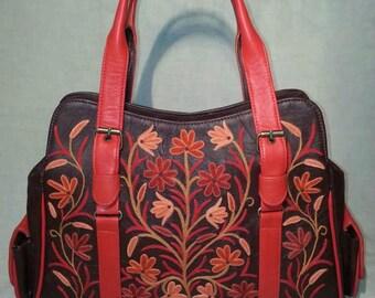 Leather Embroidered Handbag