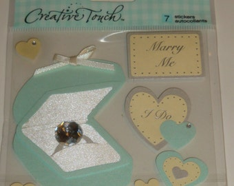 NEW ~ Dimensional Scrapbooking Stickers Wedding Love Marry Me Embellishments