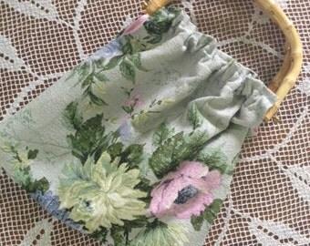 Cane handled, vintage barkcloth handbag