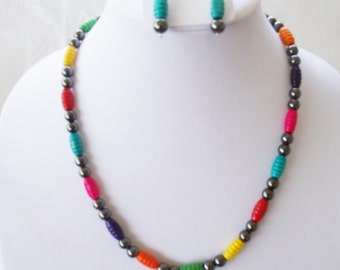 Swarovski® Pearls-Black Pearls-Colored Wooden Beads-Necklace Set-Colored Beads-Necklace-Women's Gift-Teen Girl Gift-Birthday Gift- Stylish