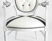 Tufted Black and White Leather Spike French Louis XVI Armchair Custom Order, Pair Accent chair painted white gloss lacquer geometric modern