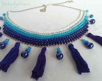 Necklace chains and thread Statement necklace Boho necklace Oriental & Modern statement necklace Necklace with shades of blue FREE SHIPPING