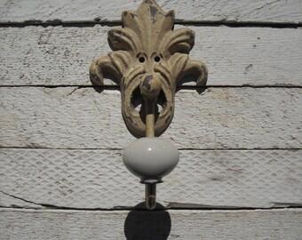 antique iron single hook fleur de lis