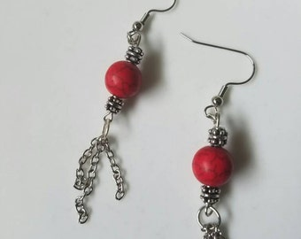 Handmade red and silver dangle earings