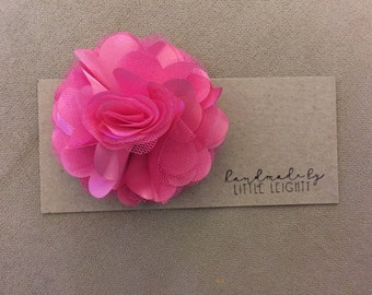 Hot pink floral hair clip - 3.5in