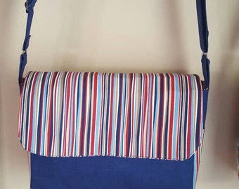 Red and navy striped messenger bag