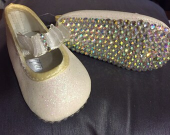 Crystal Embellished White Shoes 3-6 Months
