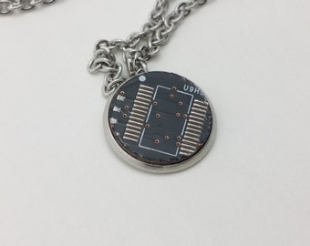 Stainless Steel Pendant Necklace Black Circuit Board