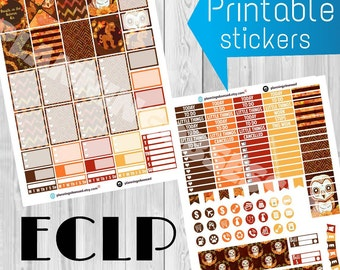 SALE 25% OFF/ Erin Condren Fall printable sticker kit / planner stickers /erin condren printable stickers/ fall stickers