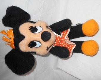 """Disney Minnie Mouse Vintage Orange Polka Dot Dress 15"""" tall Orange Bow"""