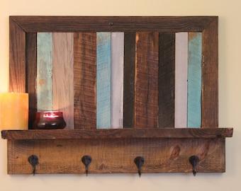 Reclaimed Wood Art shelf and coat rack