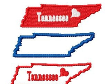 Bogo Free, USA State Tennessee Map Embroidery Design Pack, Outline Stitch, Filled Stitch and Tennessee Applique Map, Instant Download