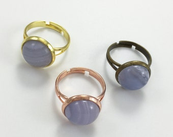 3pcs 12mm Blue Natural Agate Chalcedony Gemstone Ring  ,Bezel Gemstone Ring For Jewelry Making