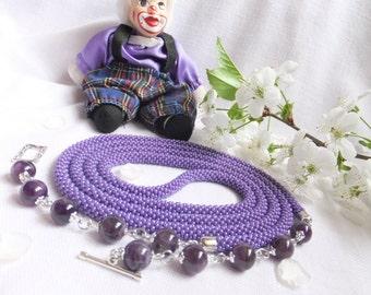 Lariat Handmade necklace Crochet of Czech beads Amethyst Jewelry accessories