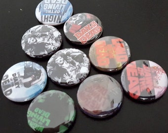 "9 Night of The Living Dead 1"" Buttons/Pinbacks/Badges Horror Scary Film Zombie Walking Dead Movie Romero"