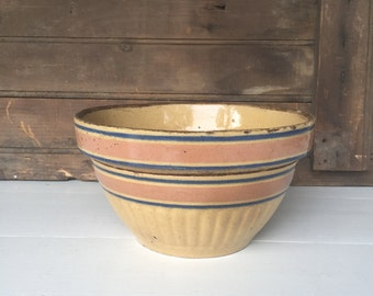 Vintage Yellow Ware Bowl with Pink and Blue Stripes (A), Fruit Bowl, Primitive, Rustic Decor
