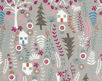 "Timeless Treasures Forest Frolic Houses 100% cotton 43"" fabric by the yard 36"" ***K42***"