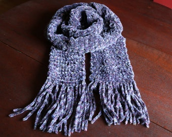 """Purple Hand Knit Long scarf with fringe, 88"""" long handmade winter scarf"""