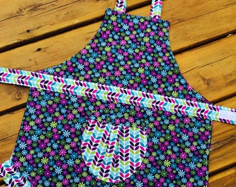 Small Blooms (Navy) Handmade Childrens Apron