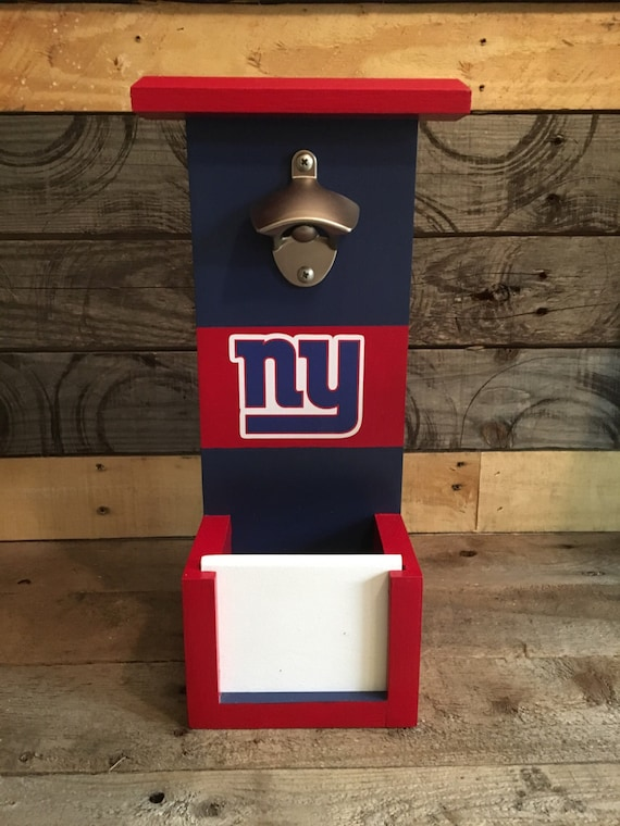 new york giants bottle opener with cap catch by csawwoodcrafters. Black Bedroom Furniture Sets. Home Design Ideas