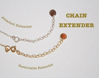 Chain Extender, Attached Extender, Removable Extender, Adjustable Length for Necklaces or Bracelets,  Gold Fill, rose Gold, Sterling Silver