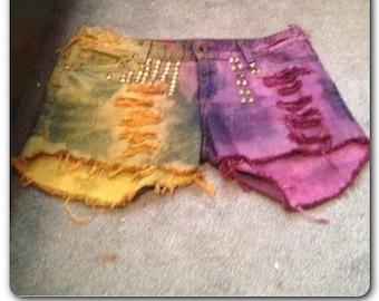 Gold Studded Purple&Orange Denim Shorts