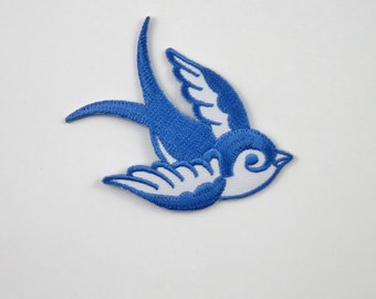 Swallow (Blue, Left) Iron On/ Sew On Embroidered Cloth Patch Badge Appliqué hot fix stitch bird UK SELLER Size: 7cm x 6.1cm