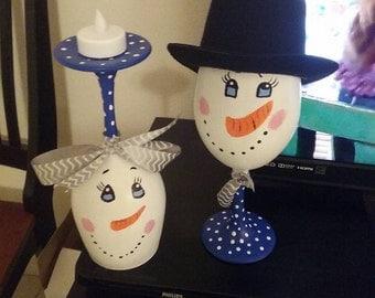 Mr & Mrs Snowman Candle