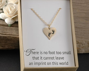 Miscarriage necklace, infant baby loss, SIDS, stillborn, stillbirth, baby memorial gift, heart charm with baby feet, gold, carded gift box